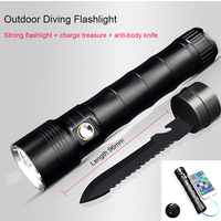 Multi Functional CREE XM L2 LED Flashlight 100m Diving Flashlight Power Bank Torch Tactical For 18650