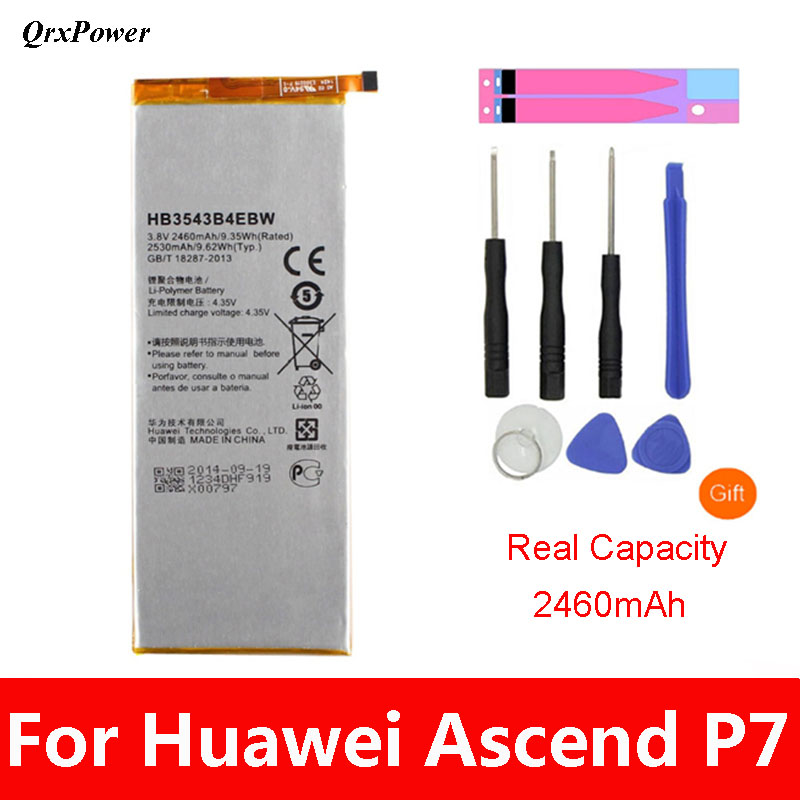 QrxPower Replacement Battery 2460mAh HB3543B4EBW for <font><b>Huawei</b></font> Ascend <font><b>P7</b></font> <font><b>L07</b></font> L09 L00 L10 L05 L11 image