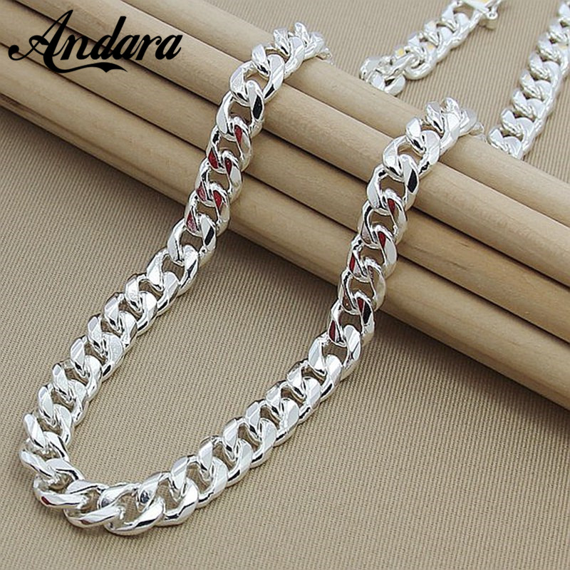 High Quality 10MM 20''24'' 50cm 60cm Men Necklace 925 Silver Link Chain Necklaces For Male Jewelry Party Gift image