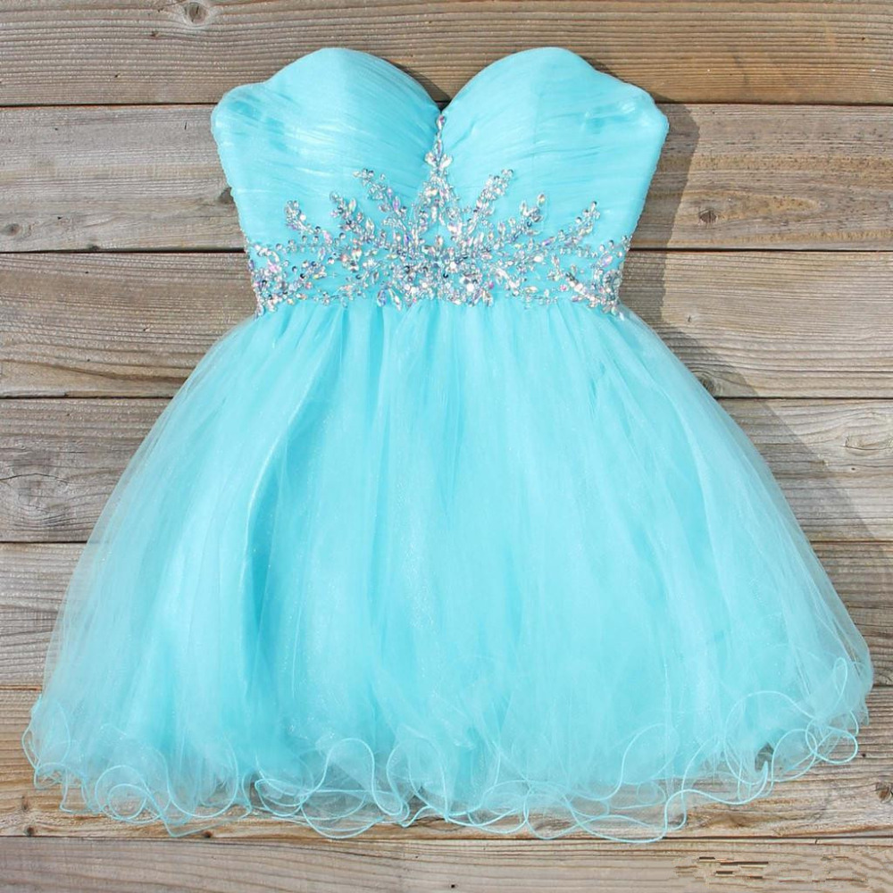 Hot Style Sweetheart Beadings Light Blue Tulle Short Homecoming ...