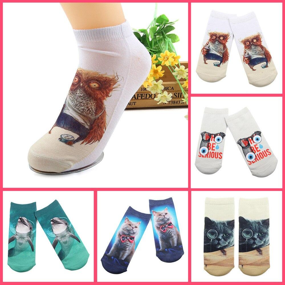 2 pairs Funny Socks Women 3D Printing Socks European American Fashion Wind Elephant Panda Bird Parrot Rabbit Giraffe Peacock in Socks from Underwear Sleepwears