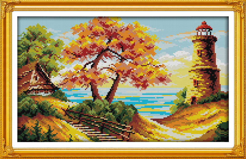 The beach autumnal scenery cross stitch kit 18ct 14ct 11ct count printed canvas stitching embroidery DIY handmade needlework