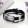 2015 Hot Sale Men's Black Punk Rubber Stainless Steel Wristband Clasp Cuff Bangle Bracelet pulseira de aco com borracha
