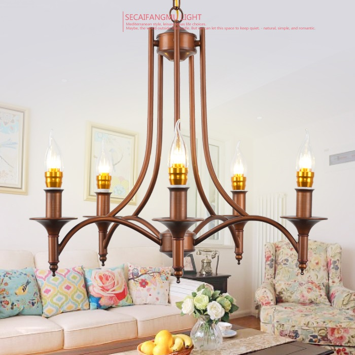 Multiple Chandelier Vintage garden Iron hanging lamp simple European style Lights bedroom Mediterranean Restaurant LAMPS zx2 european style garden princess bedroom bedside lamp shade cloth fabric floral lace crystal simple dimmable