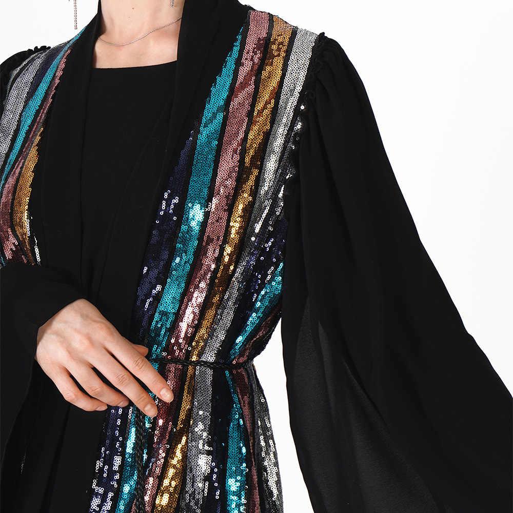 Черное открытое кимоно абайя Дубай женские блестки мусульманское платье хиджаб Бангладеш Турция турецкий кардиган Болеро Кафтан Исламская одежда
