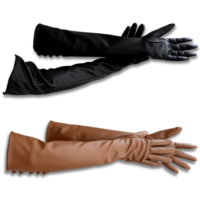 New Style Gloves PU Leather Long Gloves Women's Winter Leather Glove