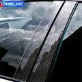 6 шт. карбоновое волокно окна двери автомобиля b-столбы панель Крышка отделка наклейки для BMW 1/3 серии F30 E46 E90 F20 внешние аксессуары