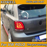 KOWELL Car Styling for VW POLO taillights 2010 2011 2012 2013 2016 Lights LED Tail Light Rear Lamp LED DRL+Brake+Park+Signal