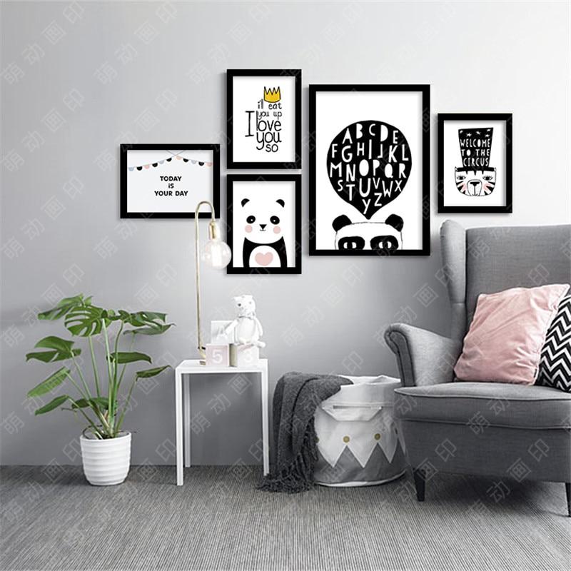 Art Paintings For Living Room Ideas With Chocolate Brown Sofa M9 Panda Modern Printings Wall Decor Back White Digital ...