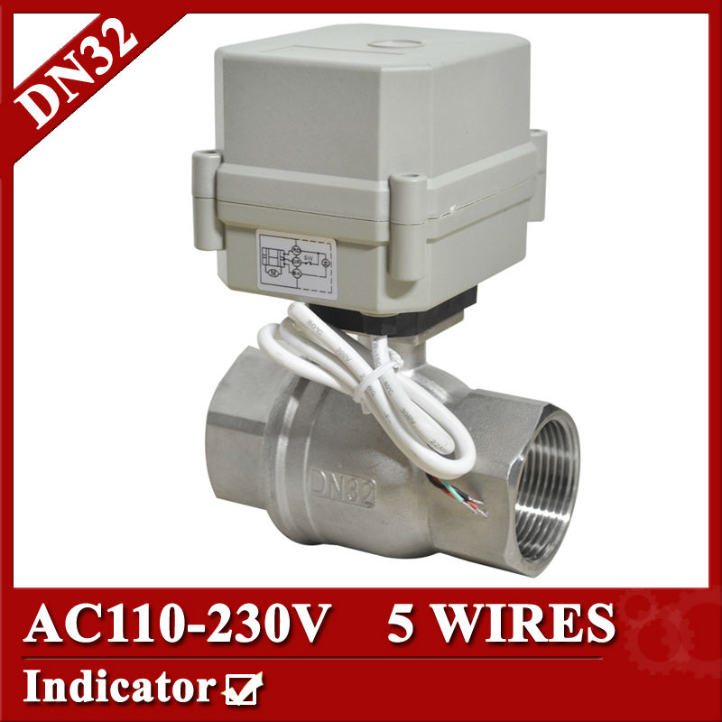 1 1/4 SS304 Electric valve 2 way, DN32 electric actuator valve 5 wires, 110V to 230V electric ball valve with signal feedback 1 2 ss304 electric ball valve 2 port 110v to 230v motorized valve 5 wires dn15 electric valve with position feedback