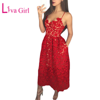 LIVA GIRL Elegant Lace Nude Illusion Party Skater Dress with Pockets Women Red Hollow Out Backless Spaghetti Strap Midi Dresses