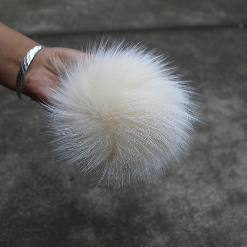 DANKEYISI 5 piezas 15 cm Real piel de zorro pompón bolas de piel Pom Poms para sombreros gorra Piel de mapache Natural pompón para guantes de bufanda llavero