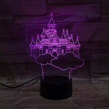 Colorful LED 3D Vision Night Light Sky City Image Touchment Control Color Lamp Desk