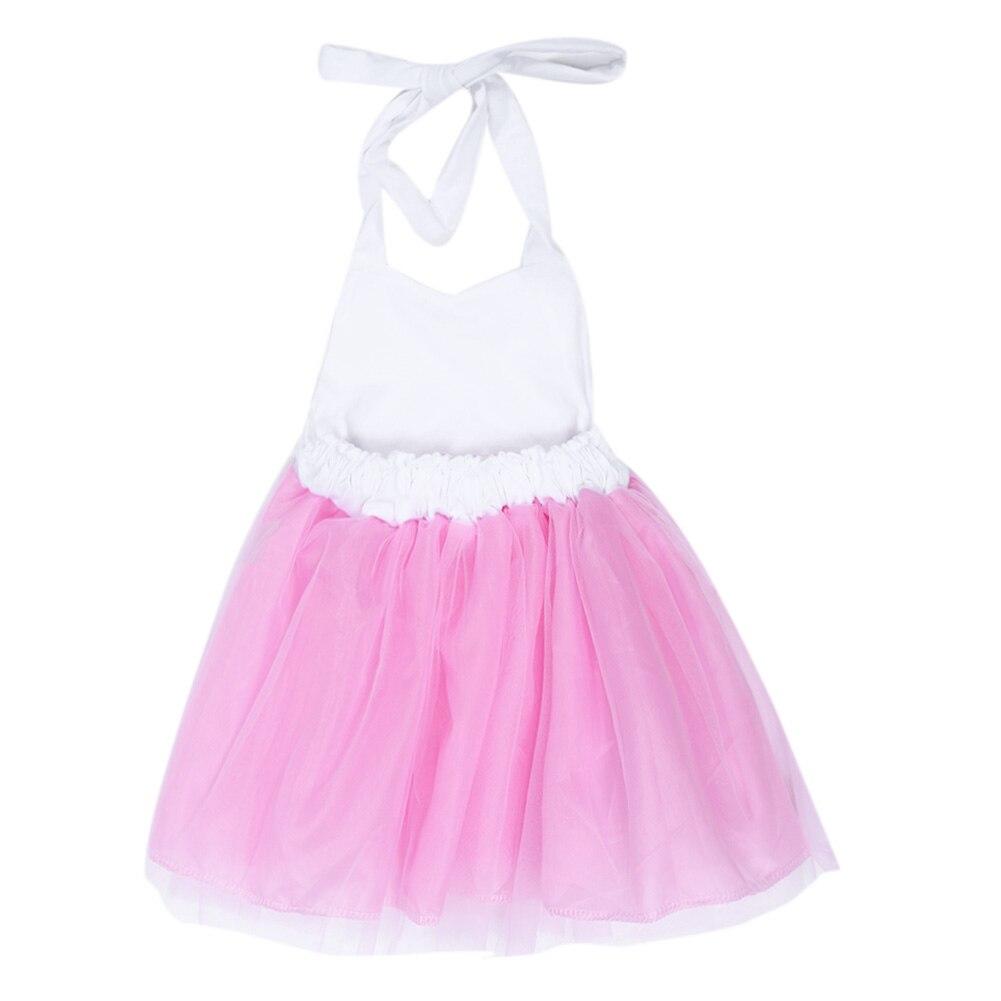 bb4e22f59a5 Белые хлопковые топы розовый вуаль платье В лоскутном стиле летняя одежда  без рукавов Холтер сетки Свадебная вечеринка платье принцессы для От 1 до 6  лет ...