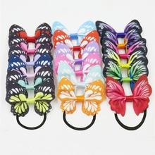 1 шт., ослепительные разноцветные эластичные резинки для волос с бабочкой для девочек, богемные резинки для волос, корейская мода, Детские аксессуары для волос для женщин