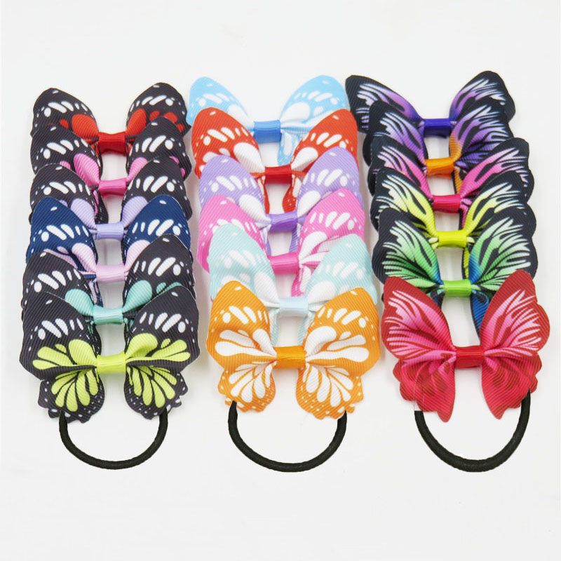 1PCS Dazzling Colorful Butterfly Elastic Hair Bands For Girls Bohemian Scrunchy Korean Fashion Kids Hair Accessories For Women