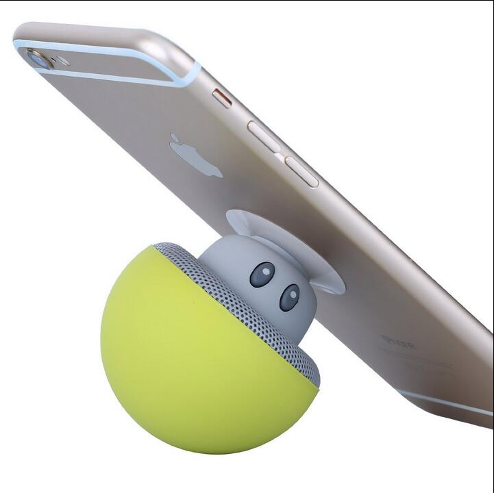 Portable Phone Holder Bluetooth Speaker Mini Mushroom Wireless Handsfree Speaker With Suction Cup For iPhone iPad Samsung