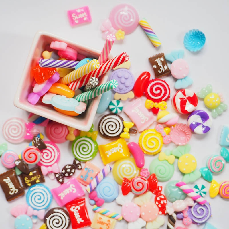 Hot Sale 30pcs/bag mixed candy Cartoon Flatback Resin Buttons multi colors DIY Craft Jewelry cell phone Decoration YM05
