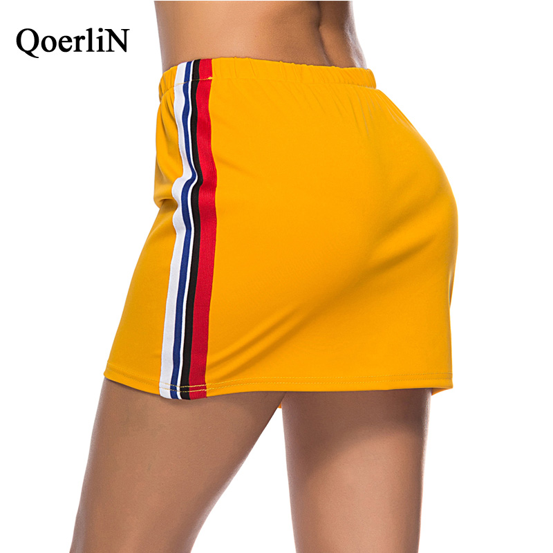 QoerliN Elastic Waist Sportwear Skirts Women Rainbow Striped Sexy Casual Bottoms Female New Arrival Yellow Skirt Women Plus Size in Skirts from Women 39 s Clothing