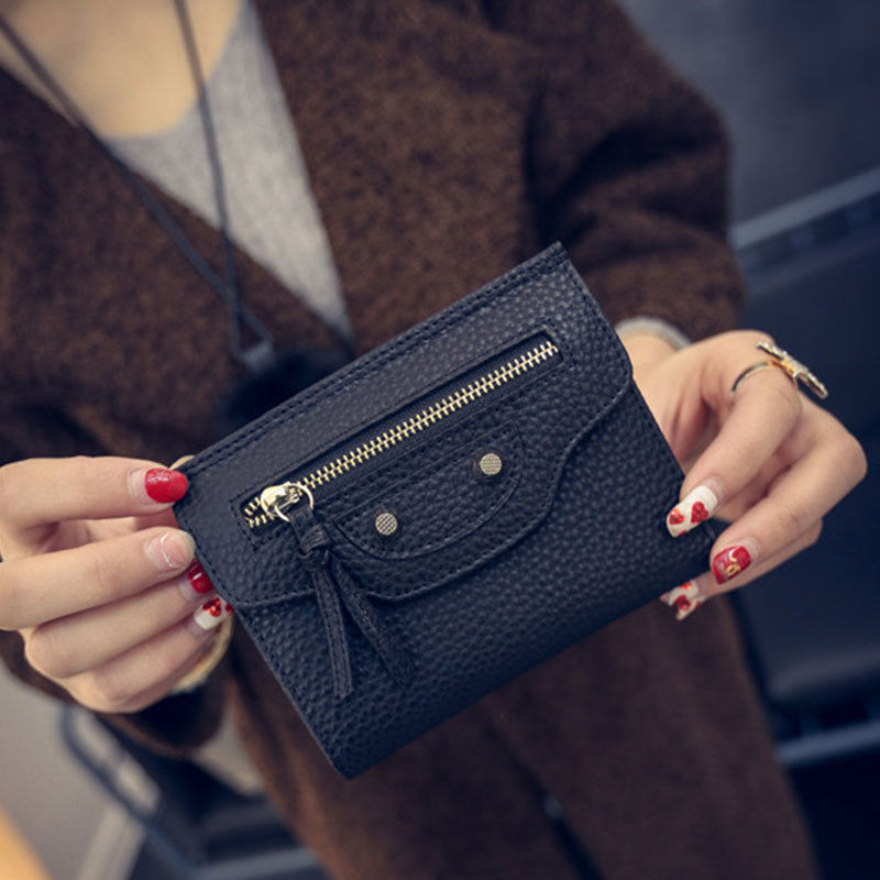 цены Women Wallets High Quality Clutch Short Purse Leather Wallet Card Holder Handbag Small Bag Short Lady's Wallets and Purse Black
