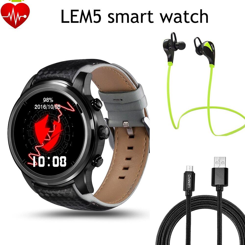 imágenes para 2017 mejor reloj Lemfo Lem5 android 5.1 OS Inteligente Reloj con 1 GB + 8 GB Bluetooth 3G wifi smartWatch para iPhone IOS android teléfono
