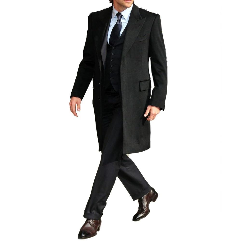 Black Long Overcoat Custom Made Men Fashion Long Coat 2018, Bespoke Topcoat Gentleman's Essentials