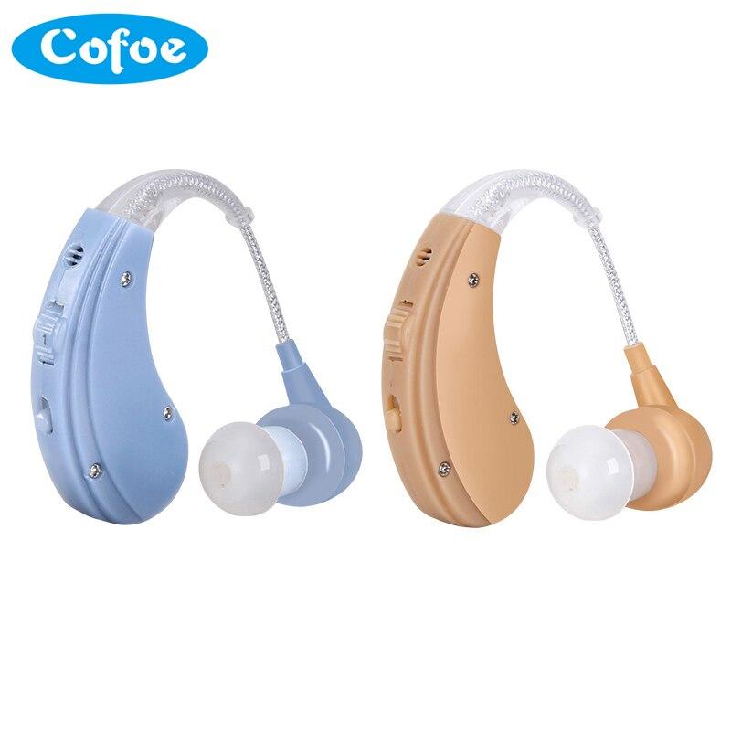 Cofoe Recarregável BTE Aparelho Auditivo para Os Idosos/Perda de Audição Amplificador de Som Audição Cuidado Da Orelha Ferramentas 2 Cor Ajustável aids