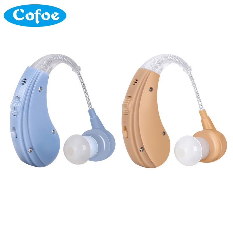 Cofoe recargable BTE audífonos para Ancianos/pérdida auditiva amplificador de sonido del oído cuidado 2 Color audiencia ajustable SIDA