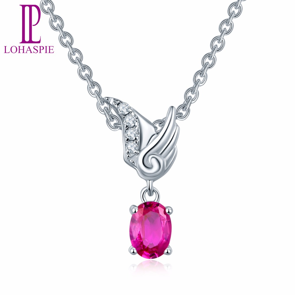 Lohaspie solid 18k white gold natural gemstone ruby angel pendant lohaspie solid 18k white gold natural gemstone ruby angel pendant necklace fine diamond jewelry for womens christmas gift new in pendants from jewelry aloadofball Image collections