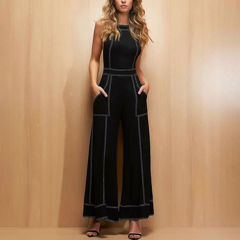 2019 Spring Women Elegant Casual Workwaer Fashion Romper Female Black Contrast Binding Crisscross Back Pocket   Jumpsuits