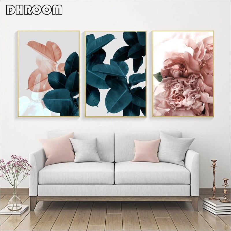 Duvar resimleri için oturma odası yaprak Cuadros resim Nordic Poster çiçek duvar sanatı tuval yağlıboya botanik posterler ve baskılar