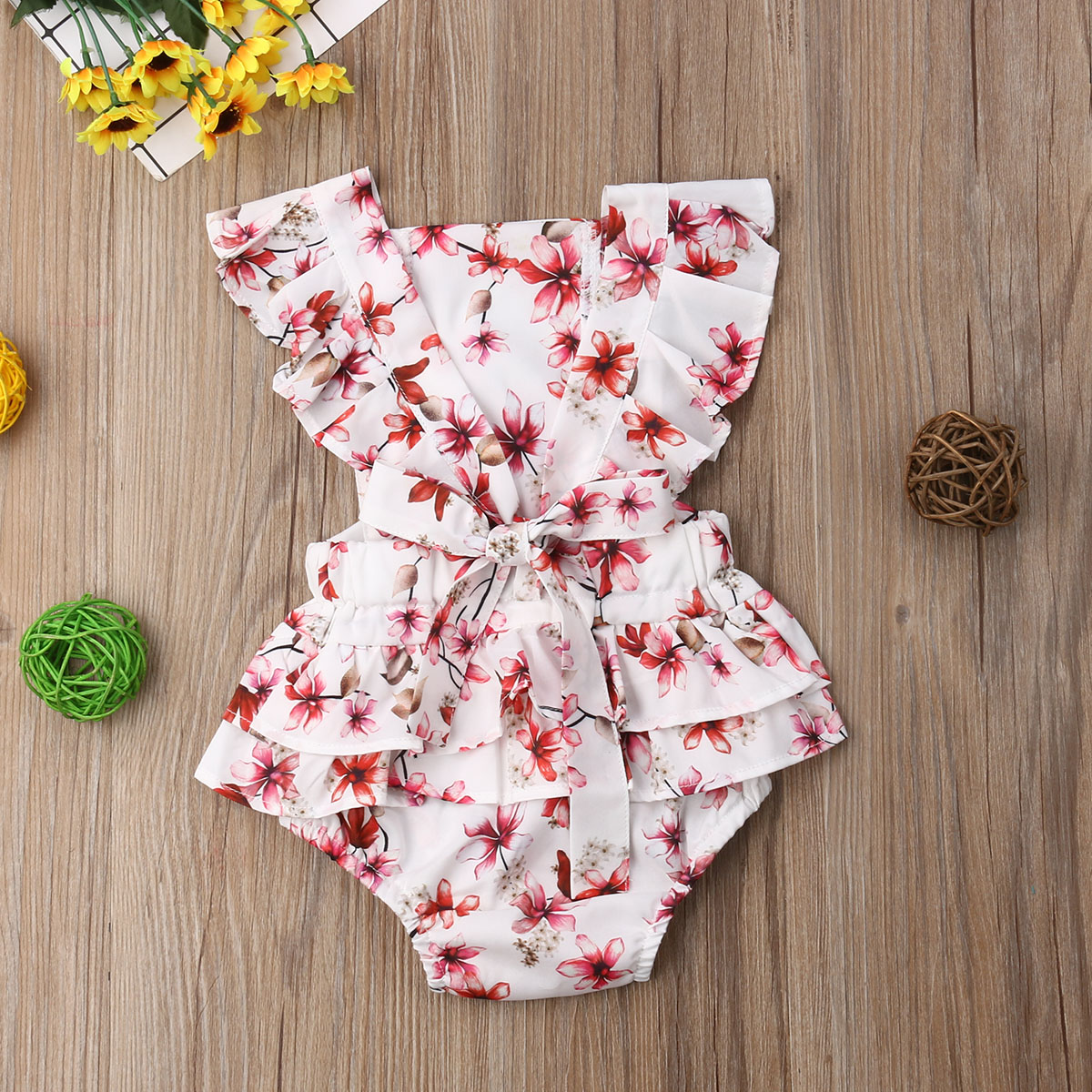 M Newborn Infant Baby Girl Flower Lace Clothes Flutter Sleeve Patchwork Bubble Jumpsuit Romper One