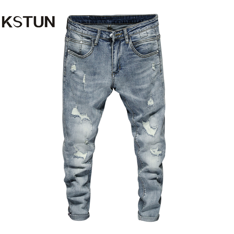 Ripped Jeans Men Skinny Light Blue High Street Style Male Jeans Elasticity Slim Fit Frayed Casual Men Pants Trousers Biker Jeans