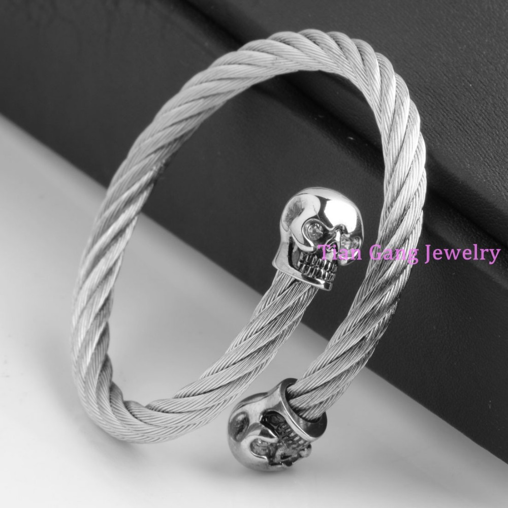 Fashion Stainless Steel Cable Bracelet Twisted Wire Bangle Cool Punk Curff Skull End Jewelry For Women Mens In Bangles From