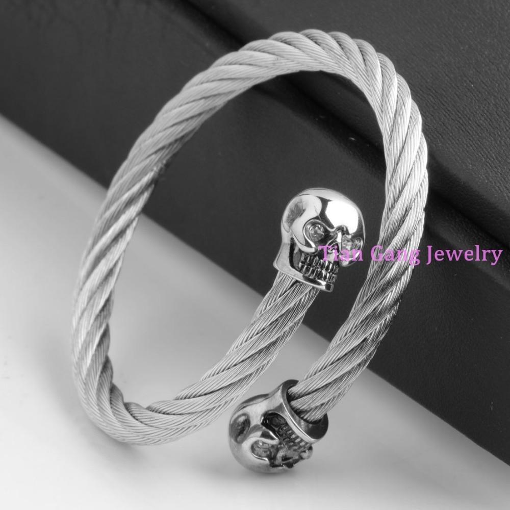 ΞFashion Stainless Steel Cable Bracelet Twisted Cable Wire Bangle ...