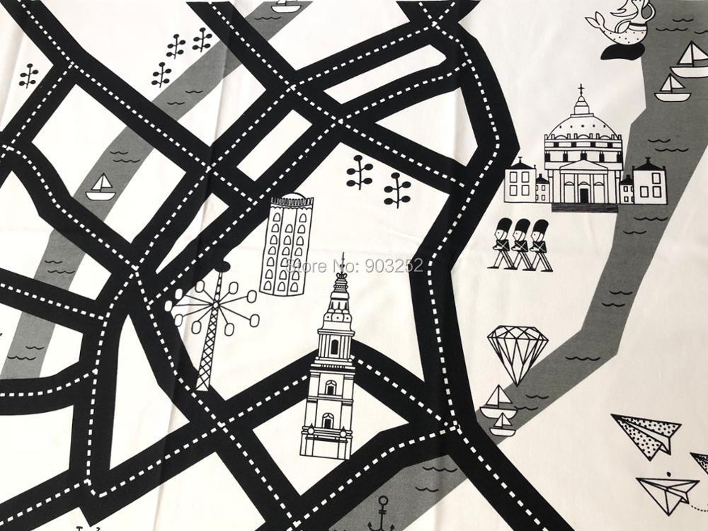 Дорожный детский игровой коврик 2 дизайна, игровой коврик для ползания, хлопковый холщовый коврик для лазания в скандинавском стиле