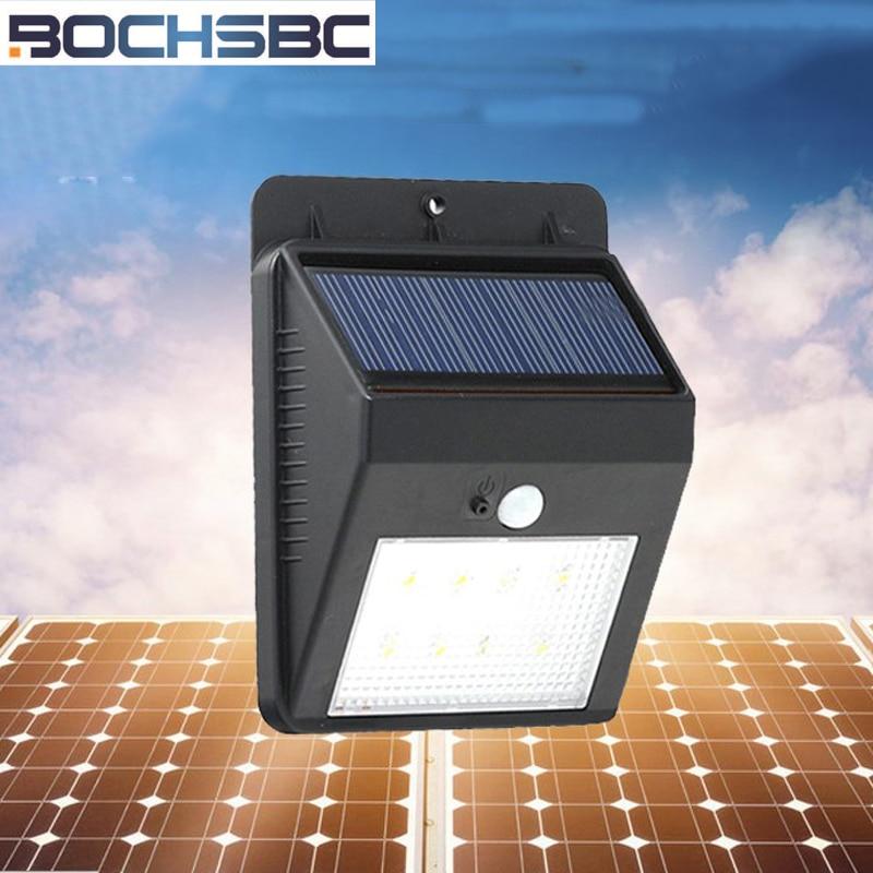 BOCHSBC 2pcs Solar Power Lights Night Lamp Body Sensor Waterproof Led Light Apply to Garden Village Street Toilet Wall Light
