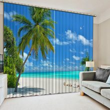 Photo Customize size Blue sky, white clouds, beach photo Blackout Window Drapes Luxury 3D Curtains For Living room Bed room(China)