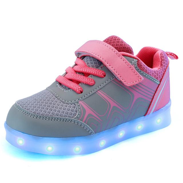 Moda Meninas Menino Acender Tênis Luz Brilhante Sapatos de Malha para Crianças Crianças 3 Cores Luminosas Recarga Plana Sapatos