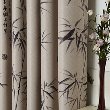Bamboo Curtain of Modern Chinese Style Bedroom Livingroom Printed Polyester Curtain Window Curtain