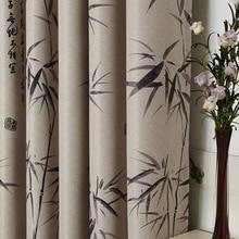 Бамбуковый занавес современной китайской Стиль спальня гостиная печатные полиэстер занавес гардина