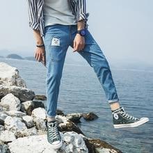 Весна лето новое прибытие мужской легкие джинсовые лодыжки длина брюки мода свободные повседневная стильный мультфильм печати джинсы для мужчин