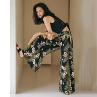 Floral Print Pant High Waist Long Wide Leg Trouser 2018 Casual New Holiday Vacation Chiffon Beach Pants