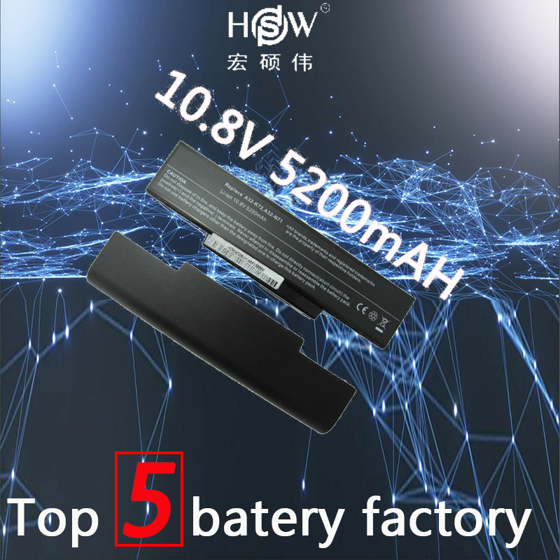 A HSW 6 A32-K72 células de bateria para Asus K72 K72F K72JR N71JQ N71VG N71VN K72J N71 K72Q N73 K73 X77 A72D a32-K72 A32-N71 bateria