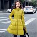 2016 winter down cotton-padded jacket puff skirt outerwear thickening cotton-padded jacket medium-long slim waist overcoat