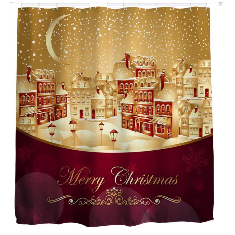 1 PC Christmas Kids Waterproof Polyester Bathroom Shower Curtain Decor With Hooks Janu 12