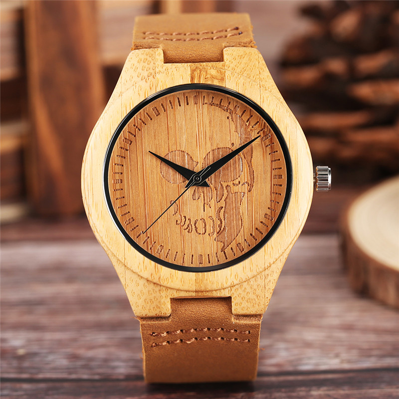 Luxury Wood Watch for Men Women Skull Pattern Creative Nature Wooden Wristwatch Modern Novel Leather Bangle Unisex Bamboo Clockwatch forwatches for menwatch pattern -