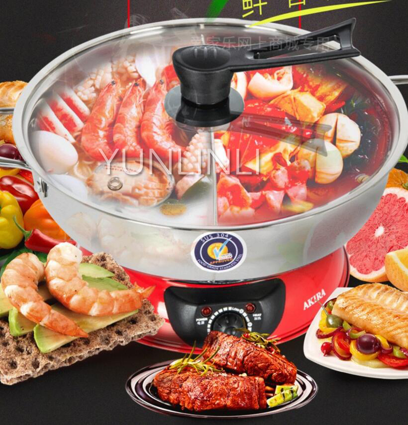 5L Stainless Steel Electric Hot Pot Chinese Hot Pot Twin Divided Hot Pot Cooker medical stainless steel pot oil pot