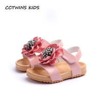 CCTWINS KIDS 2018 Summer Toddler Pu Leather Flat Sandal Children Fashion Flower Beach Sandal Baby Girl