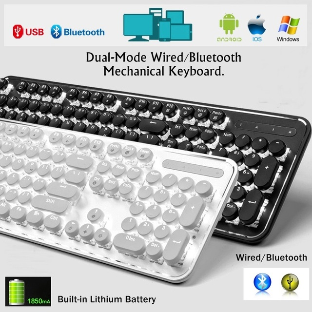 10a39565bcc Royal Kludge RK960 Dual Mode Wired/Bluetooth Wireless Mechanical Keyboard  Retro Round Keycap For Desktop